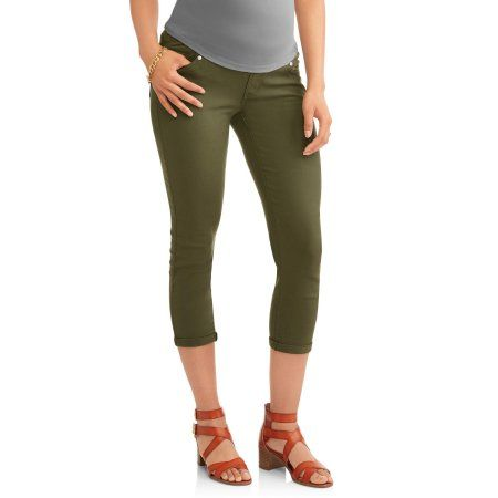 b2a5e20b84032 Oh! Mamma Maternity Demi Panel Stretch Twill Skinny Capri with 5 Pockets  and Roll Cuffs--Available in Plus Size, Green