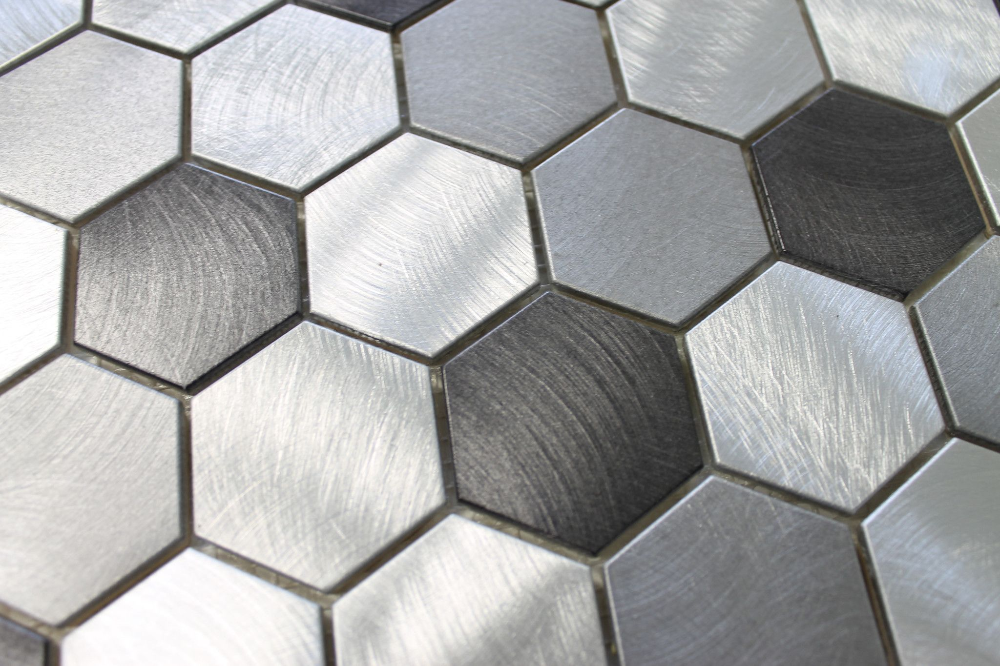 Uptown Brushed Aluminum 2 Inch Hexagon Mosaic Tiles Hexagonal Mosaic Hexagon Mosaic Tile Mosaic Tiles