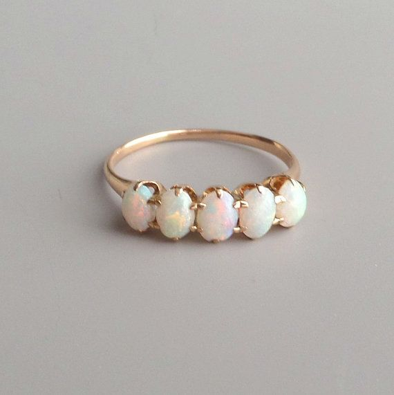 365910976 Victorian Opal Ring. 14k Gold. Row of Five Oval Stones. in 2019 ...