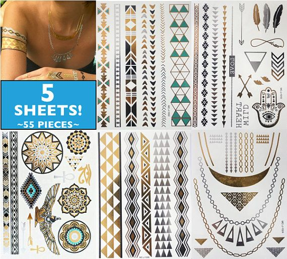 Festival Tribal Aztec Gold Silver Turquoise Black by FestiveFash
