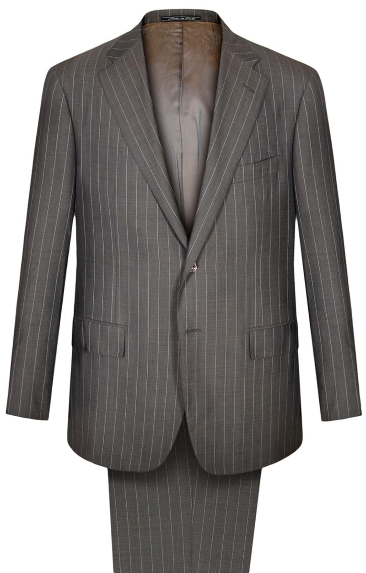 Men/'s 2 Button 100/% Wool Pinstripe Suit Notch Lapel Wedding Flat Front Pants New