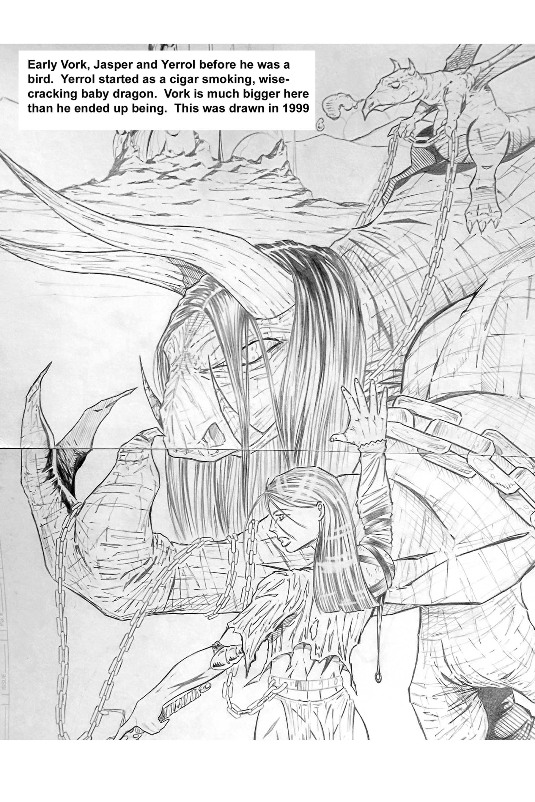 Early drawing of Vork, Jasper and Yerrol, probably done around 1998/99.  This was initially intended to be a comic, but life has a way of changing plans...   ;P