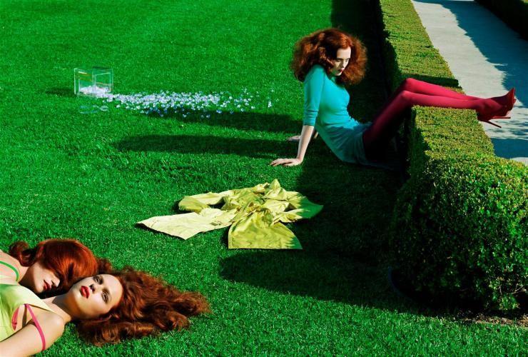 Publication: Vogue Italia August 2004 Model: Jessica Stam, Karen Elson, Missy Rayder, Elise Crombez Photographer: Steven Meisel Fashion Editor: Edward Enninful