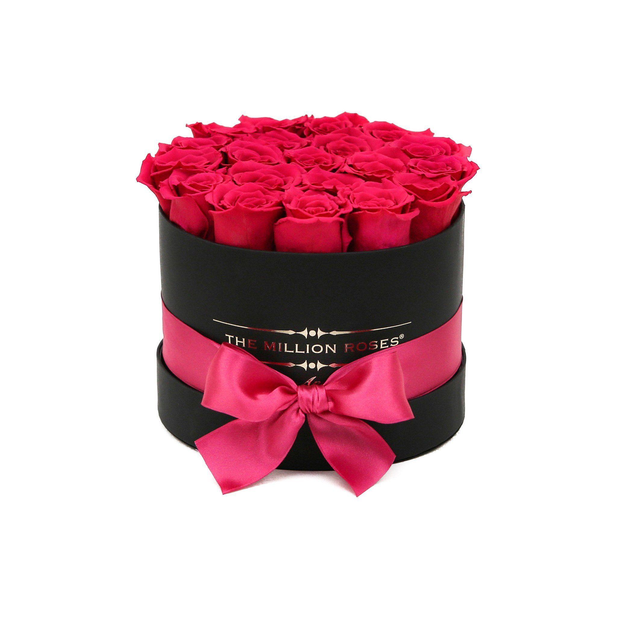 Classic Round Box Black Hot Pink Roses Round Box Hot Pink Roses Pink Roses