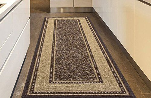 Ottohome Collection Chocolate Contemporary Bordered Design Modern Runner Rug With Non Skid Non Slip Rubber Backing 2 X7 No Modern Area Rugs Rugs Area Rugs
