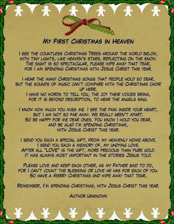 Myfirstchristmasinheaven Author Unknown Inmemory Of The Lovedones Who Have Passed On Poem Christmas In Heaven Christmas Poems My First Christmas