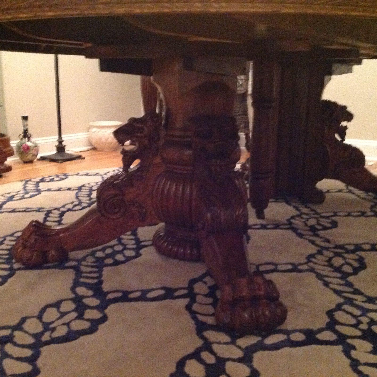 Horner Oak Claw Foot Griffin Split Pedestal Table