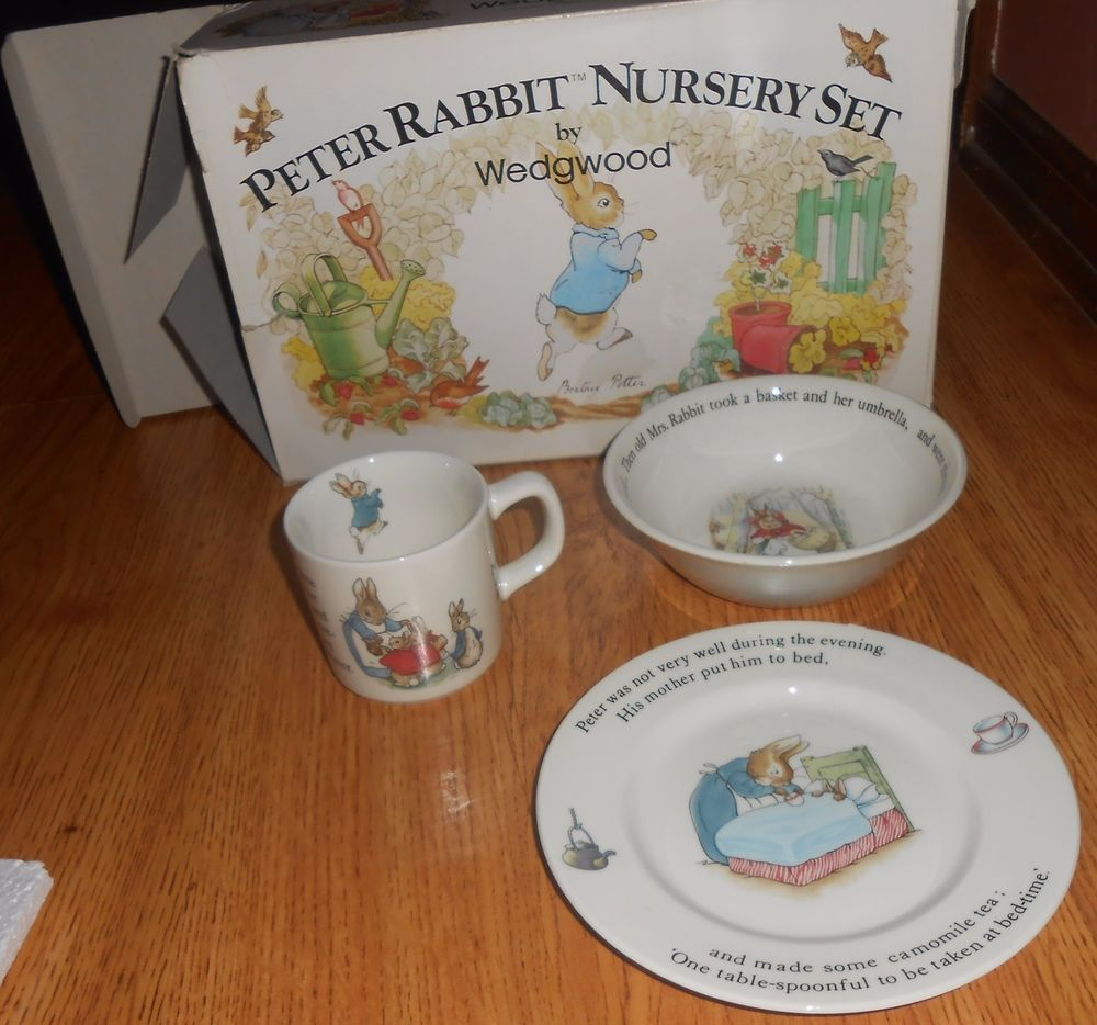 3 Pc Wedgwood Peter Rabbit Nursery Set Porcelain Cup Plate Oatmeal Bowl Child