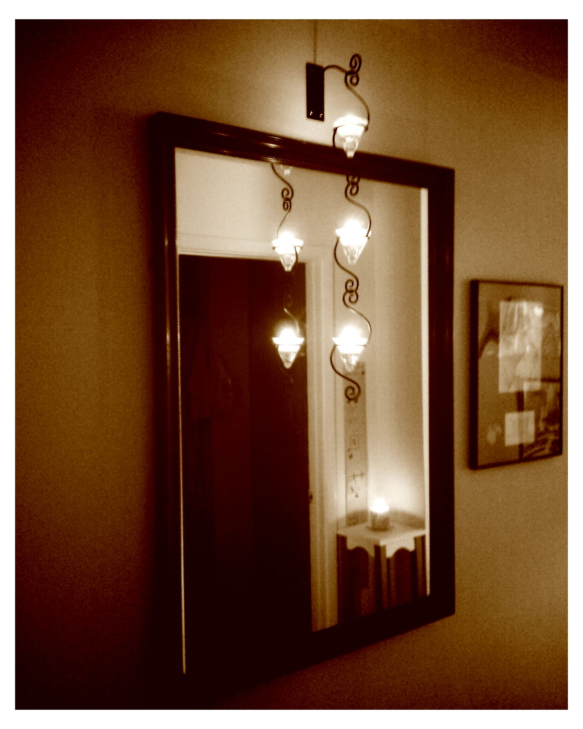 Antique Mirror And Candle Chain In The Hallway Perfect Light