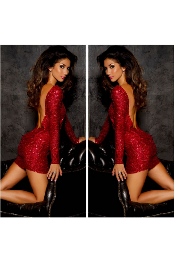 17b408a08b0 Lady in Red! Get noticed in this red sparkly dress featuring scooped  draping back