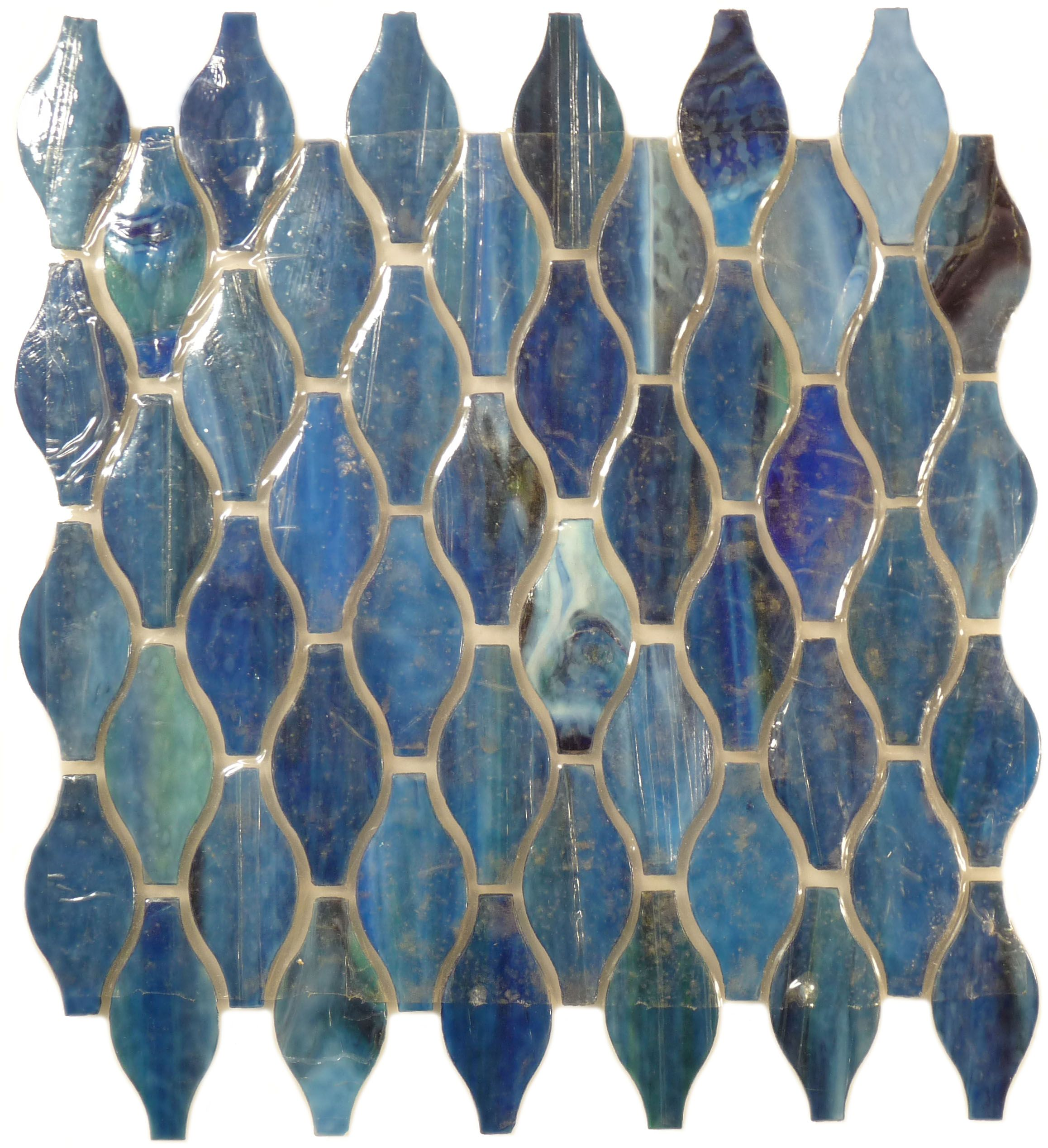 Botanical glass clearance unique shapes lagoon blue glossy blue tropical color glass tile dailygadgetfo Gallery