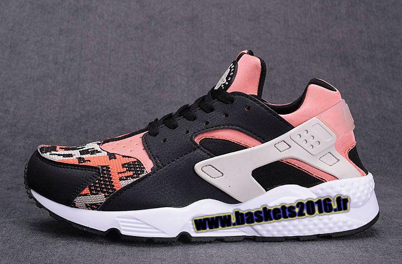 Nike Air Huarache Run Knit Chaussures de Running Pas Cher Pour Homme Pink ,  noir ,