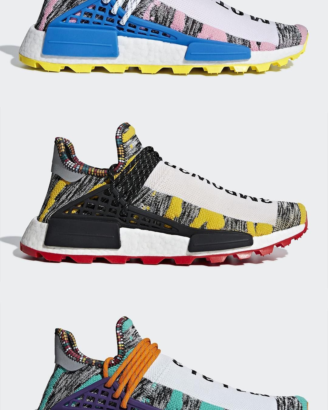 """4c982adb1 Sneaker News on Instagram  """"Pharrell s got more adidas NMD Hu releases  coming this Fall. What do you think about the """"Solar"""" Pack  For a closer  look at this ..."""