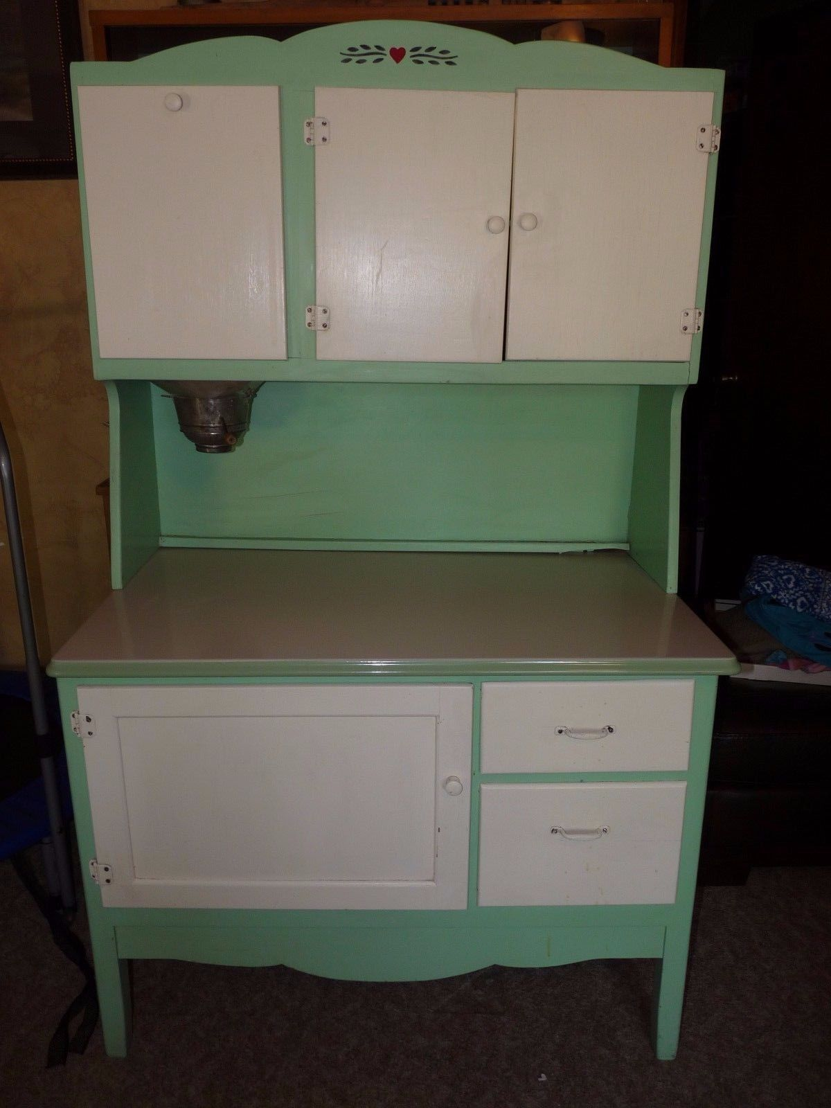 Antique Hoosier Cabinet Kitchen Flour Bin Enamel Green Benjamin Crysteel Updated 1900 1950 Cabinets Cu Antique Cabinets Hoosier Cabinet Cabinet Furniture