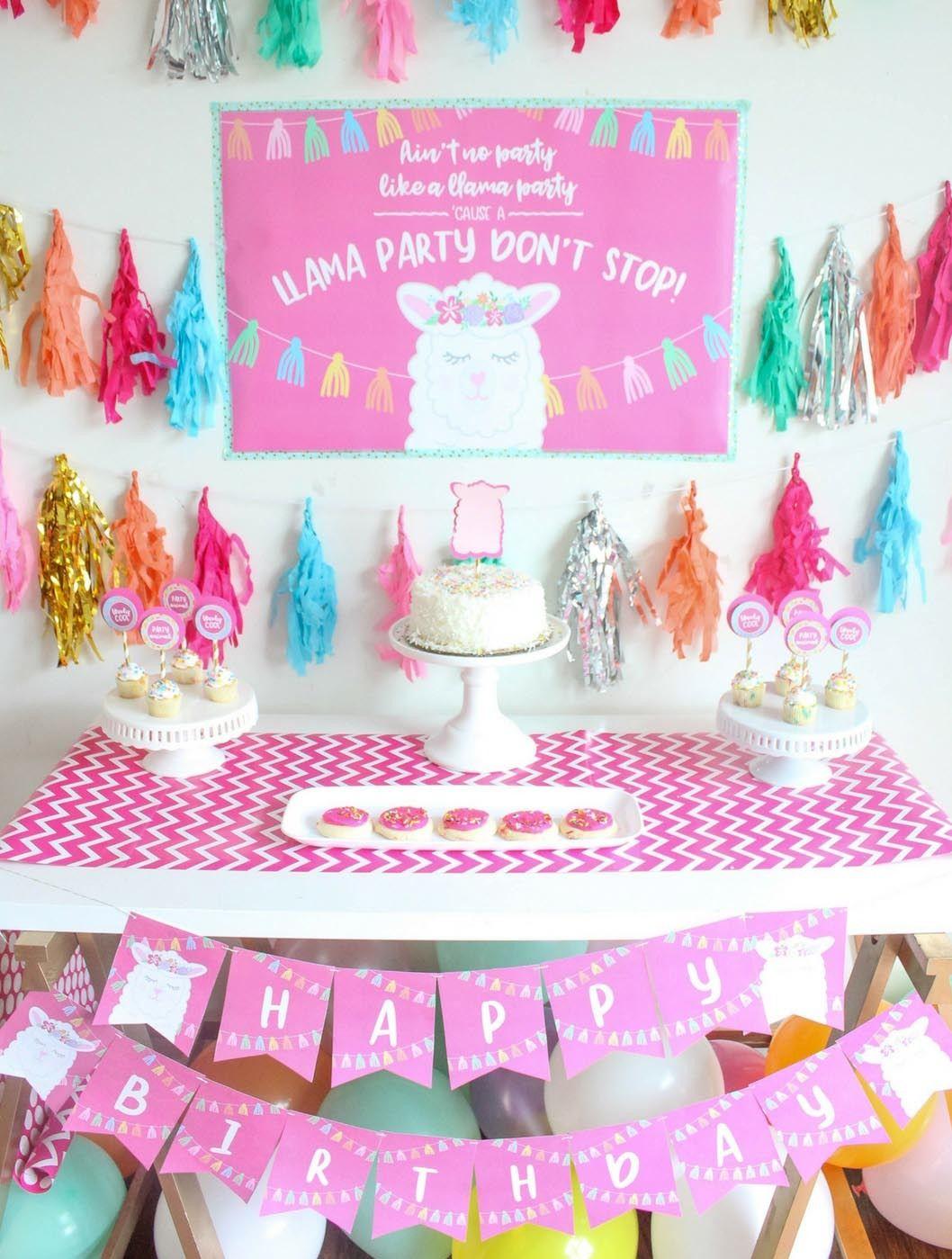 Llama Theme Birthday Party Supplies Llama Happy Birthday banner