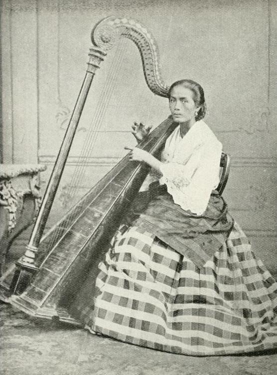 A FILIPINA Harpist _1898