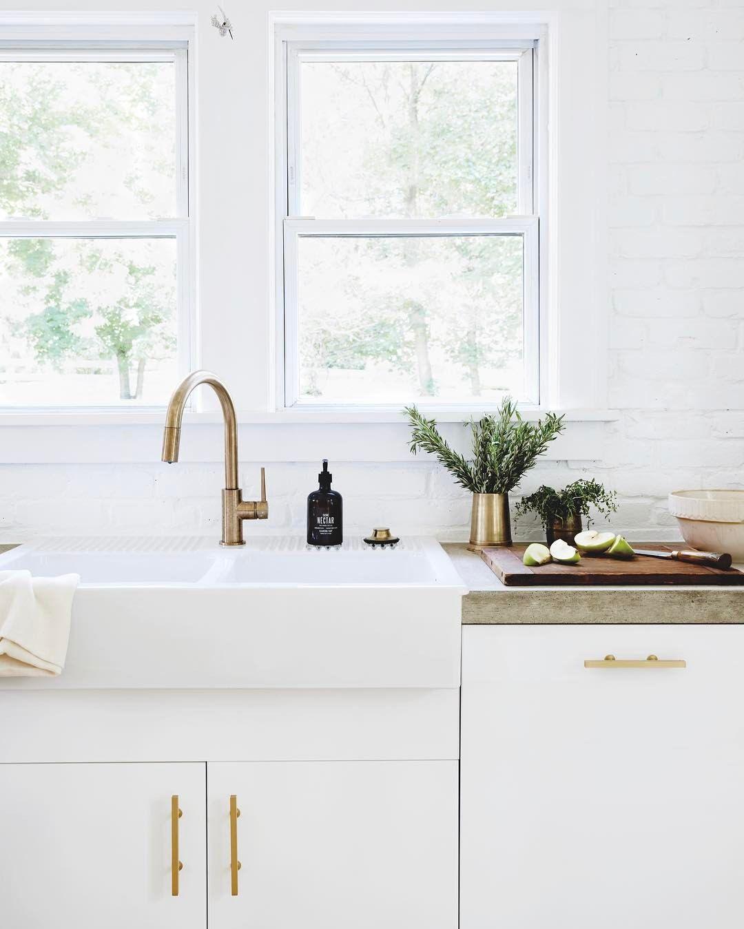 Leanna Ford. White, brass, concrete. | Kitchens | Pinterest ...