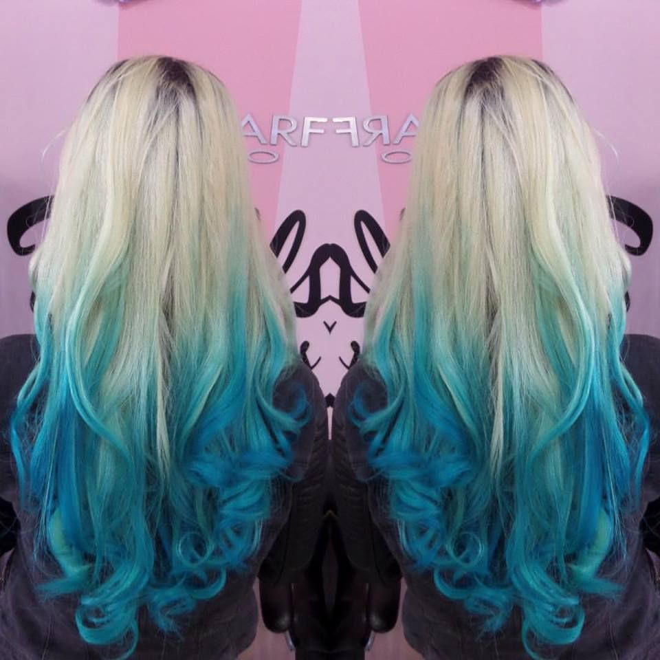 Blonde to aqua ombre hair hair pinterest ombre hair ombre blonde to aqua ombre hair urmus Choice Image