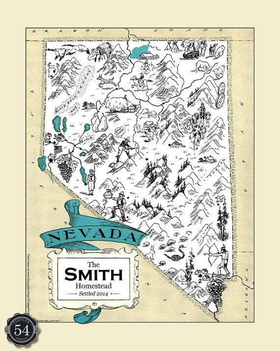 CUSTOM NEVADA MAP Map Of Nevada Art Print Vintage Map
