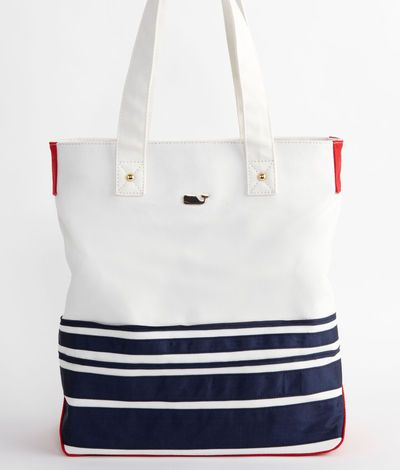 Navy Blue Stripes And A Whale This Is Mine Mariner Tote