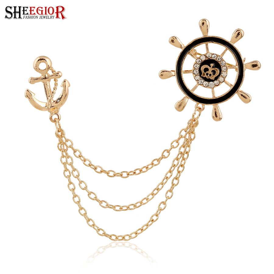 Gold color Anchor Collar Brooches for Women Love Crystal ...
