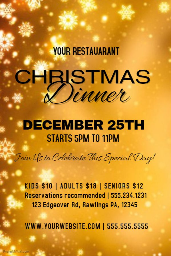 Golden Christmas Dinner Poster Template Christmas Poster - christmas menu word template