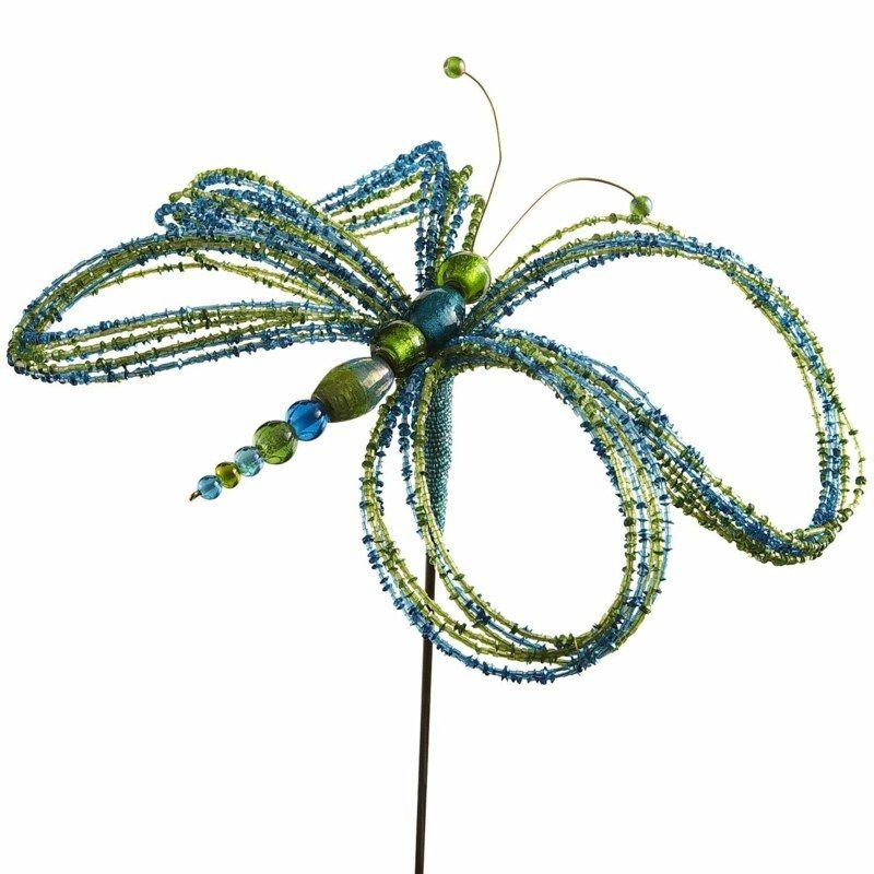Diesen Gartenstecker Basteln Sie Mit Kleinen Und Großen Perlen Und ... Gartenstecker Basteln Ideen Gartendeko