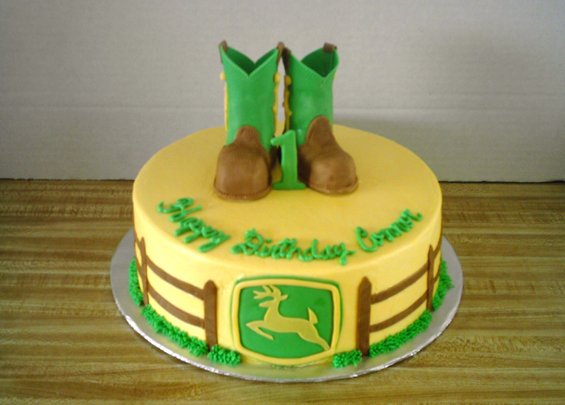 John Deere Boot Cake John Deere 10 inch White cake with