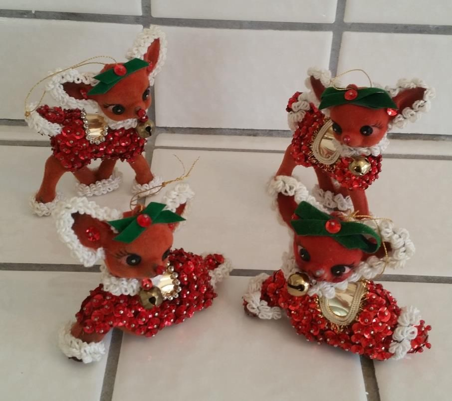Lot 4 Vintage 1950s 60s Sequin Flocked Felt Christmas Reindeer Bell Ornaments Felt Christmas Handmade Christmas Ornaments Christmas Ornaments