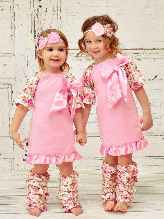 Little Girl S Boutique Dress Floral Vintage Shabby Chic