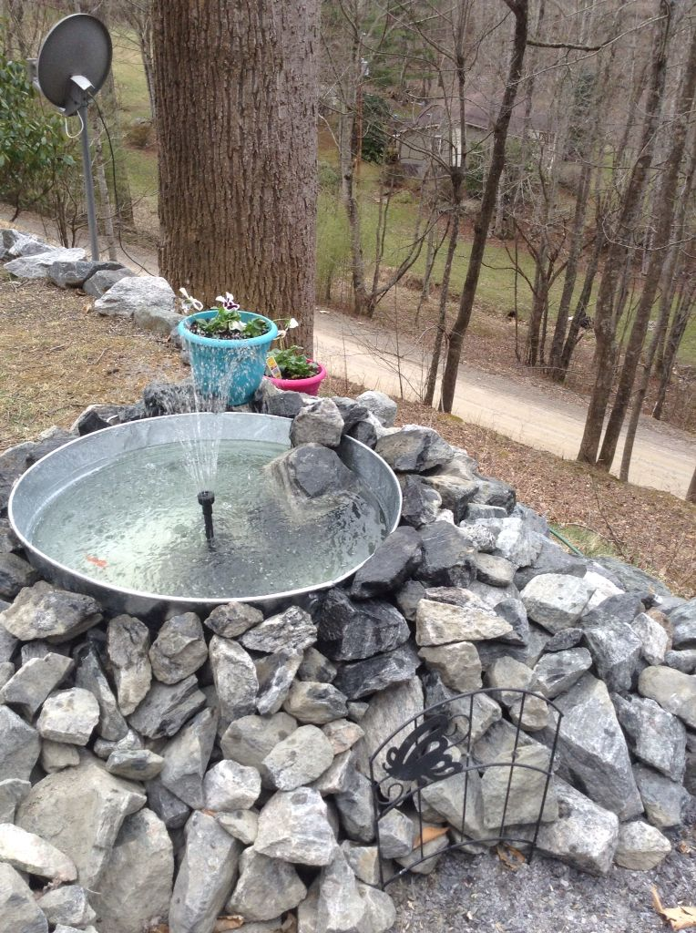 Almost Finished With My Water Feature Started Galvanized Tub From Tractor Supply Fountain