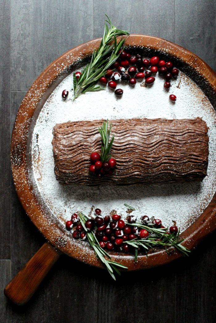 Classic Chocolate Yule Log Cake w/ Peanut Butter Mousse