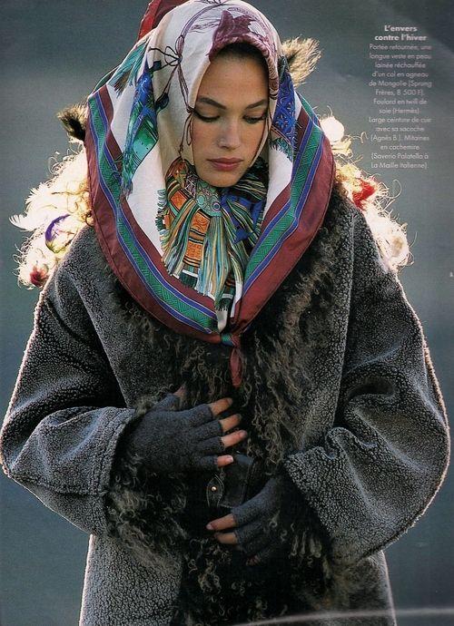 """Un Air D'exotisme En Hiver"", Elle France, October 1995 Photographer : Hans Feurer Model : Amit Machtinger"