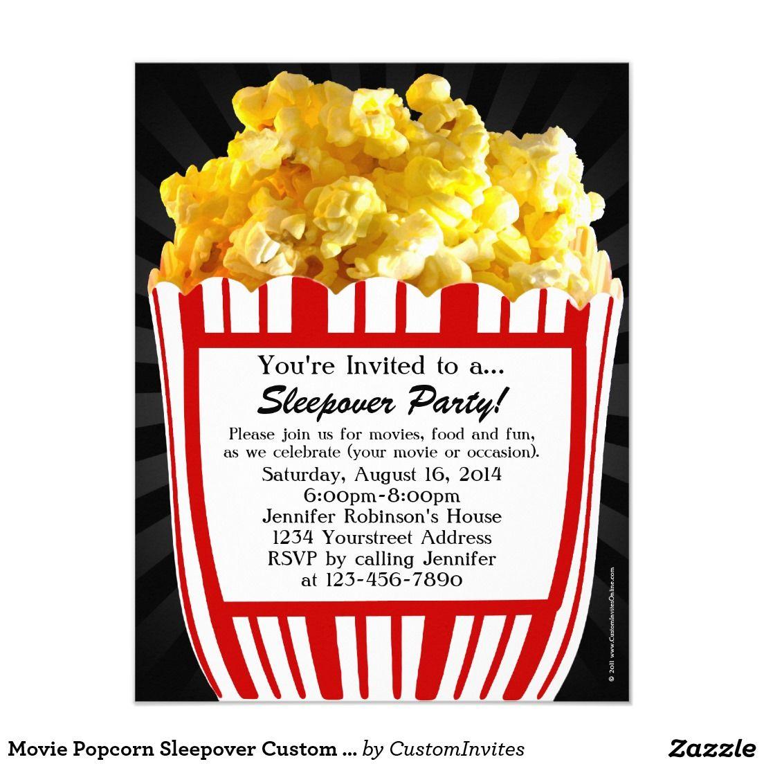 Movie Popcorn Sleepover Custom Party Invitations | Giana\'s Birthday ...