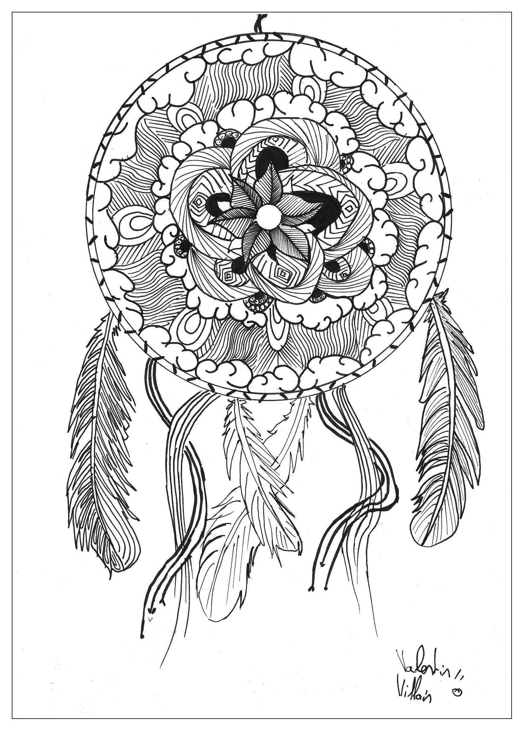 Mandalas Coloriages difficiles pour adultes coloriage adulte dessin Mandala capteur de reve par valentin