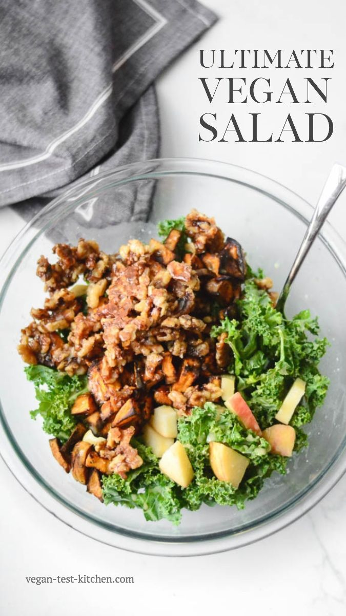 Roasted Sweet Potato And Crunchy Kale Salad With Creamy Almond Dressing