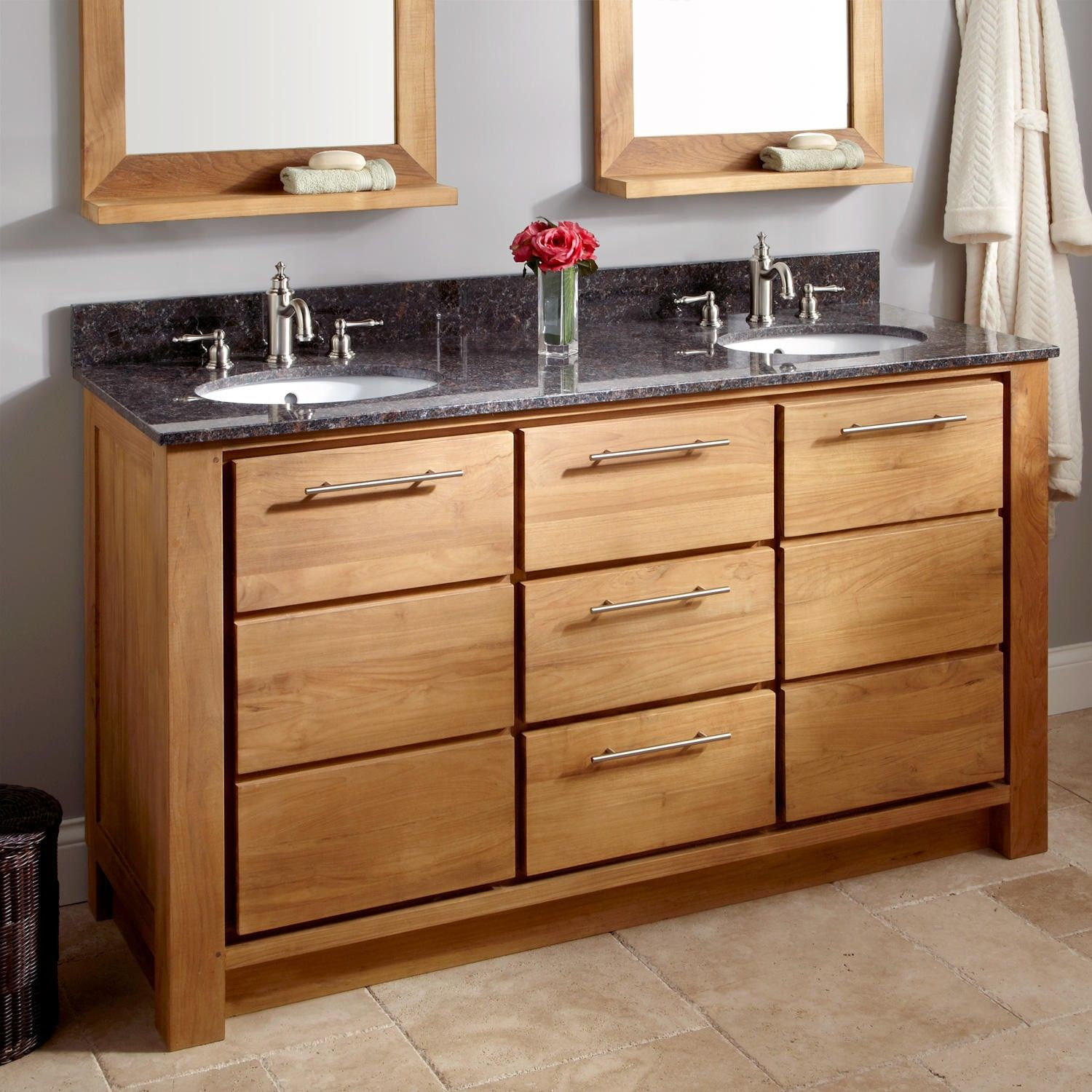 "60"" venica teak double vanity for undermount sinks - natural teak"