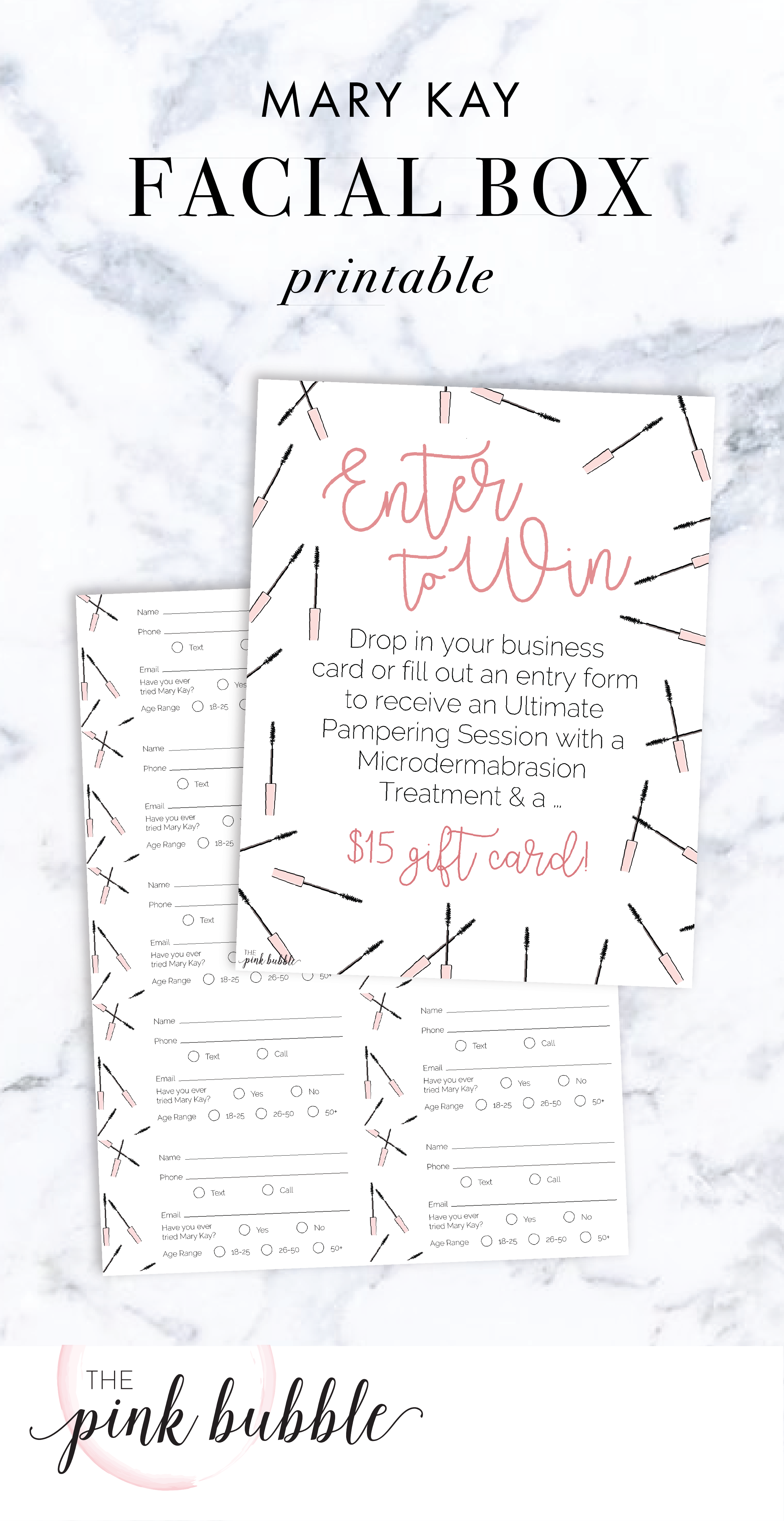 Mary Kay customizable Facial Box inserts with matching info cards ...