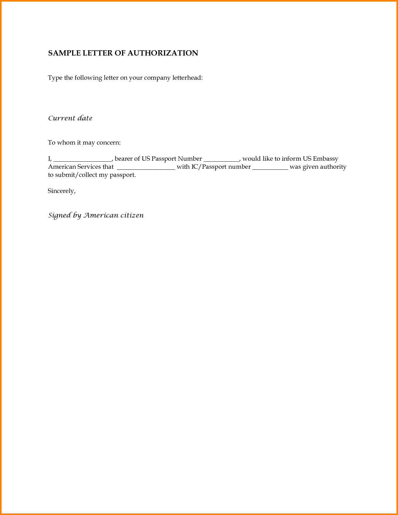 Simple Authorization Letter Format Best Sample Collect Passport From Consulate