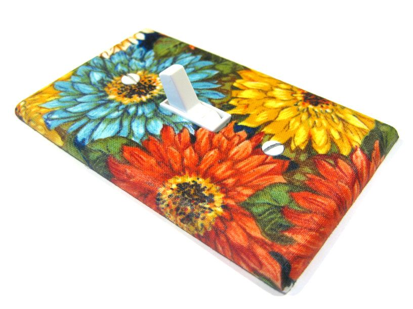 Chrysanthemum Flowers Light Switch Cover Primary Colors Floral Mums  Red Yellow Blue Spring Flowers (15.00 USD) by ModernSwitch