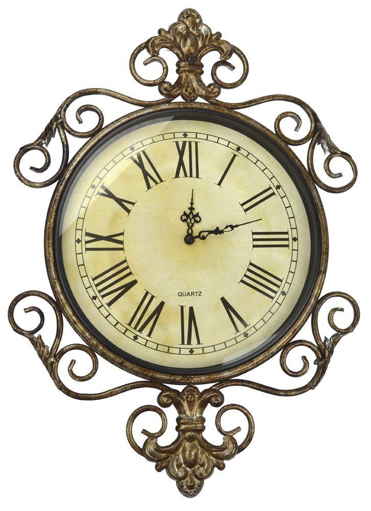Lulu Decor, Antique Roman Metal Wall Clock in Fleur De Lis Design ...