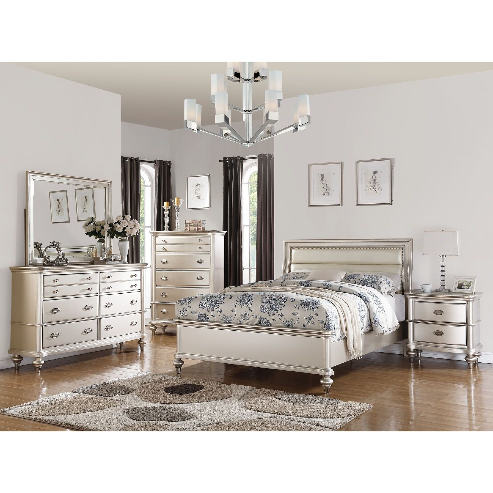 Savina 4 Piece Bedroom Set King Silver