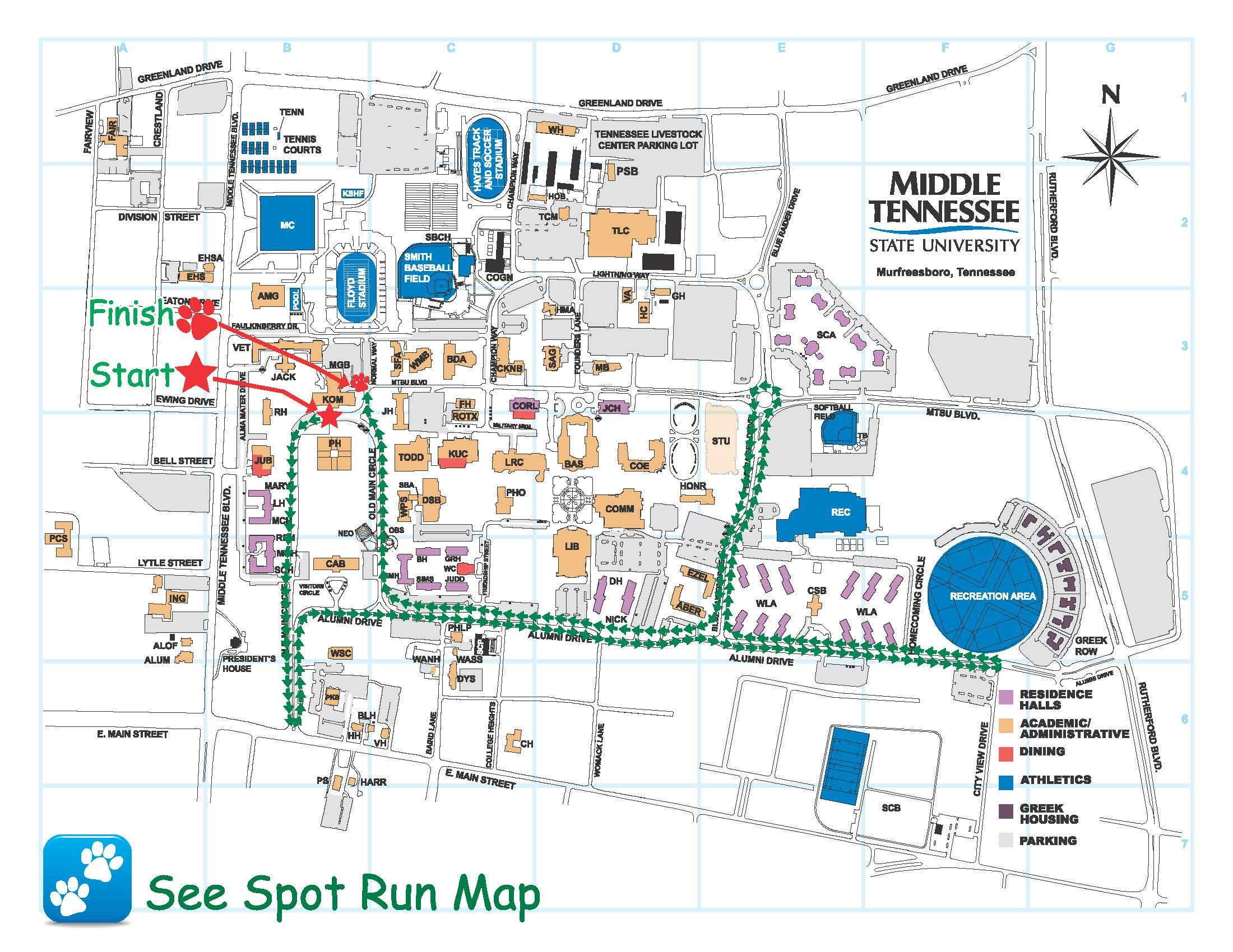 MTSU's Campus MAp | college | Pinterest | College, Campus map and Dorm