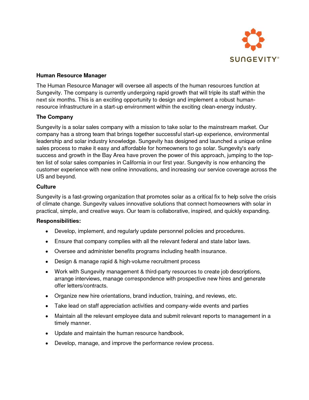 23 Human Resources Cover Letter Human Resources Cover Letter Help