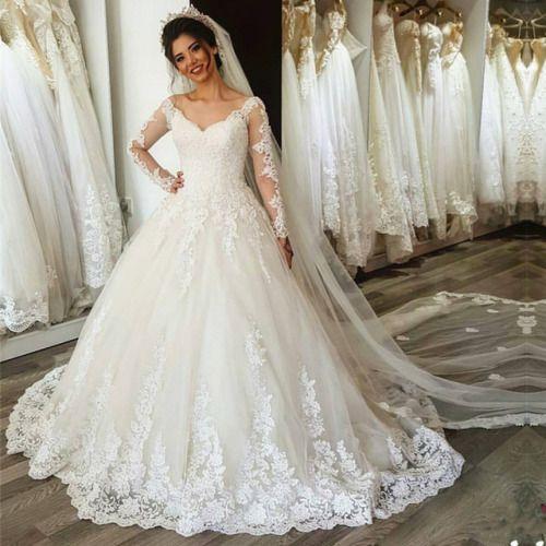 vintage dress,v neck wedding dress,long sleeves wedding dress,lace ...
