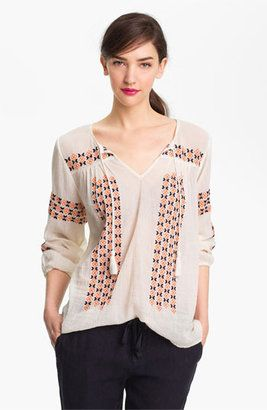 Joie Nira Embroidered Peasant Top Joie