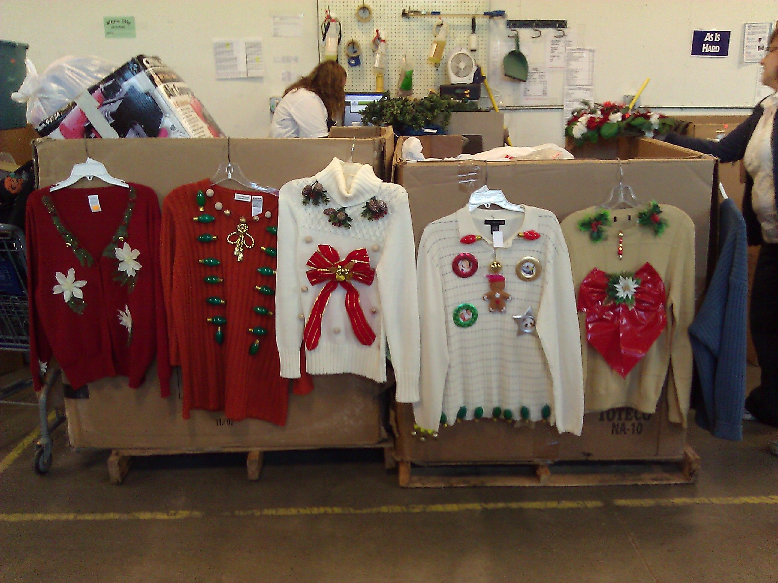you can find ugly christmas sweaters at goodwill but act quickly