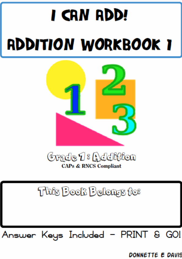I Can Add! No Prep Addition Workbook 1 Grade 1 - St Aiden\'s ...