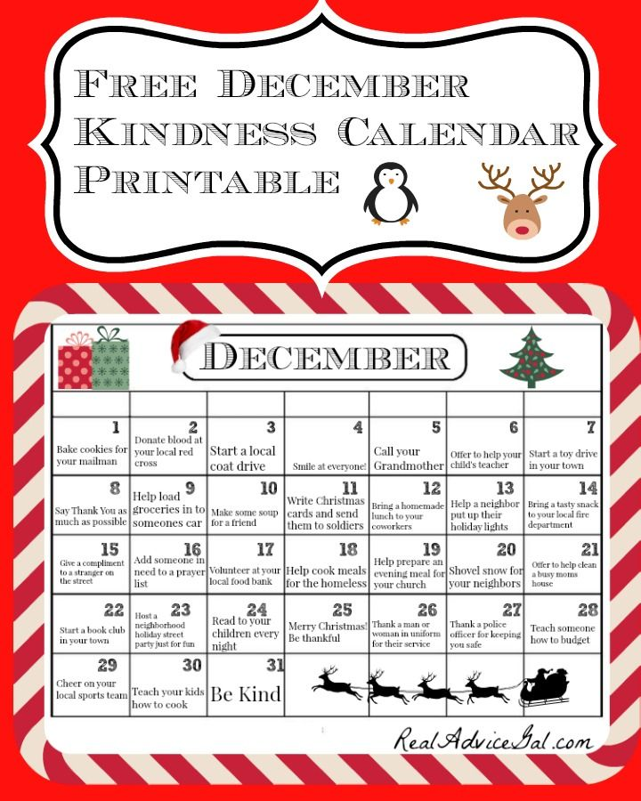 Places To Visit In Month Of December: Free December Kindness Calendar Printable. Did You Know
