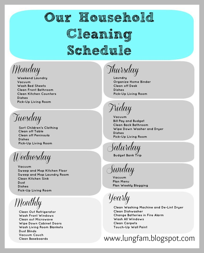 Home Cleaning Schedule Printable Schedules Clean House Checklist